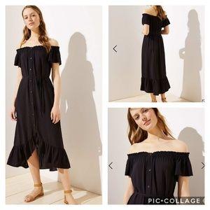 Loft Off the Shoulder Button Down Midi Dress